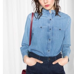 & Other Stories Anthro Ruffle Neck Chambray Top